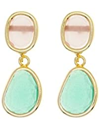 Córdoba Jewels | Pendientes en plata de Ley 925. Diseño Duo Oval Esmeralda