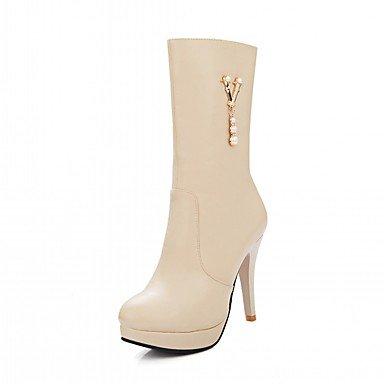 RTRY Scarpe Donna Pu Similpelle Autunno Inverno Comfort Novità Moda Stivali Stivali Stiletto Heel Round Toe Stivali Mid-Calf Zipper Per Party &Amp; US8 / EU39 / UK6 / CN39