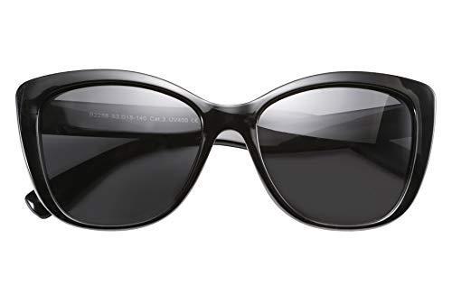 FEISEDY Feedy Polarisierte Vintage Sonnenbrille American Square Jackie O Cat Eye Sonnenbrille B2451 Gr. 56, Schwarz