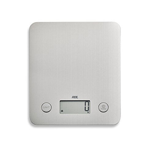ADE Digitale Küchenwaage KE 1701 Alice. Elektronische Waage für die Küche mit Wiegefläche aus gebürstetem Edelstahl und No-Fingerprint-Beschichtung. Präzises Wiegen bis 5kg. Inklusive Batterie. Silber