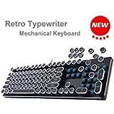 USB rétro machine à écrire mécanique clavier rétroéclairé Clavier de jeu vintage Steampunk avec Entièrement en métal LED clavier de jeu mécanique avec Khail commutateur pour joueur/Habitués etc. Argenté