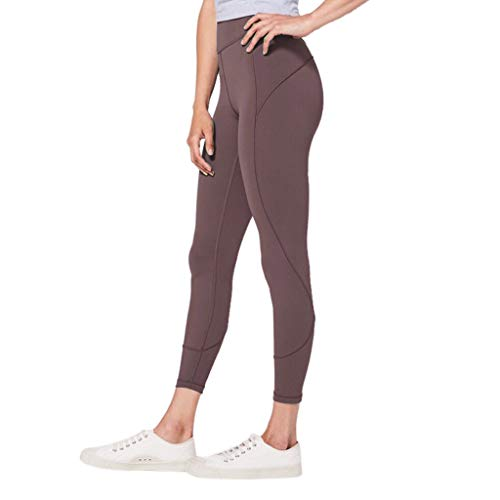 WOZOW Damen Leggings Gamaschen Solid Basic Dünn Skinny Stretch Trousers High Waist Sweathose Casual Workout Jogginghose Sport Hose Yoga Stoffhose (L,Coffee)