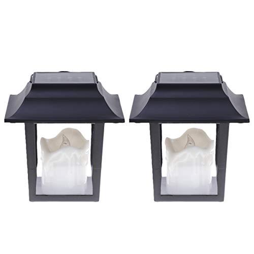 MOBESTECH 2 pz Candela Bianca Lanterna Solare Impermeabile Giardino Cortile Appeso Lanterne Lanterna Recinzione per Esterni Decorazione Interna (Nero)