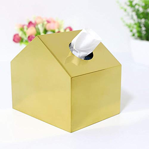 WANG Nordic Gold Stainless Steel Tissue Box Home Decoration Ornaments Metal small House Tissue Box Restaurant Tray,1 (Design House Wc-papier-halter)