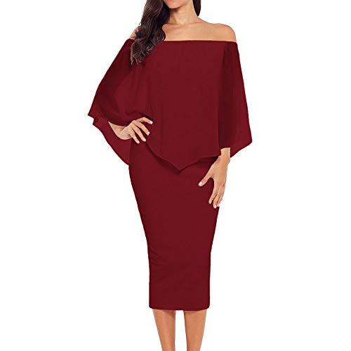 Ancapelion Damen Schulterfrei Midi Kleid mit Chiffon Schal Cocktailkleid Elegant Pencil Partykleid Lässige Kleidung Abendkleid Frauenkleid Kleider, XXL(EU 50-52), Rot