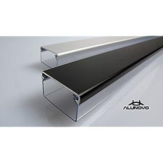 Transparenter Kabelkanal mit Abdeckung in mattschwarz eloxiert in verschiedenen Längen von ALUNOVO (Länge: 20cm)