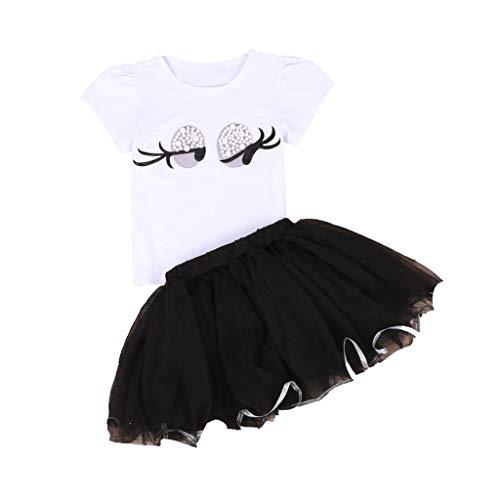 Tyoby Baby Mädchen Kurzarm T-Shirt Große Augen Drucken+Mesh-Rock Prinzessin Kleid zweiteilig(Weiß,120) -