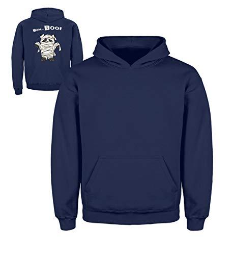 Shirtee Bam-Boo! Cool süßes Halloween Panda Wortspiel - Grusel Geschenk für Panda Fans - Kinder Hoodie -7/8 (122/128)-Marine-blau