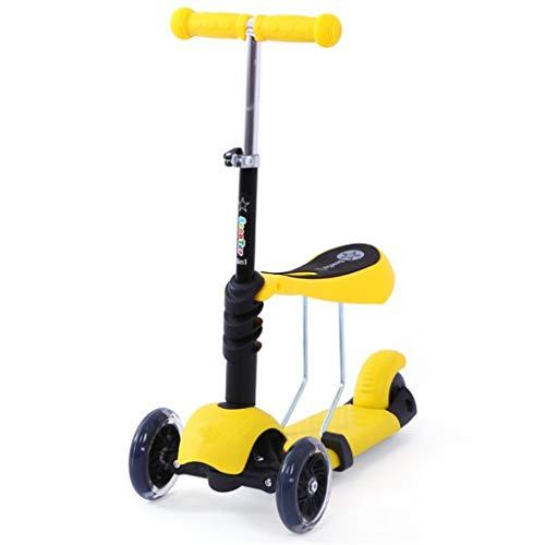LXIANGP Kinderfahrrad Walker 2 in 1 Kinderscooter 4 Rad Alter 1-12 Anhebbarer Griff Sitz PU Magnetisches Blitzrad Einfach einzufahren (Für Babys In 2 Einem Walker)