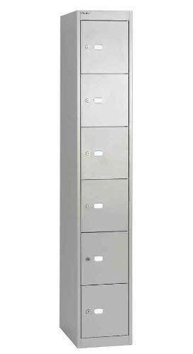 Bisley Schließfachschrank Office, 1 Abteil, 6 Fächer, T 305 mm, 355 Silber, 30.5 x 30.5 x 180.2 cm