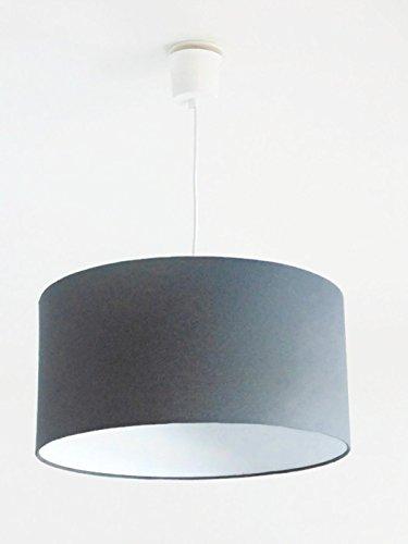 Lustre suspension plafonnier abat jour cylindrique gris anthracite - rond - cylindre + fil électrique idée cadeau anniversaire taille personnalisée