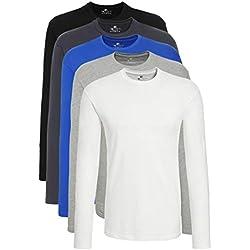 Lower East Mit Rundhalsausschnitt Camisa Manga Larga, Multicolor (Weiß Greyweiß/Schwarz/Olympian Blau/Hellgrau Melange/Folkstone Grey), XX-Large, Pack de 5