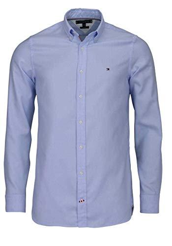 Tommy Hilfiger Herren Slim Essential Dobby T-Shirt, Blau(Cornflower Blue445), Large (Herstellergröße:L) -