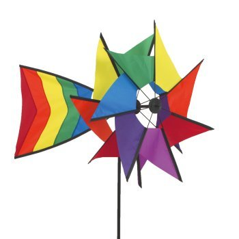 Windspiel - Windmill 77 RB - UV-beständig und wetterfest - Windräder: Ø40cm, Ruder: 40x26cm, Höhe: 110cm - inkl. Fiberglasstab