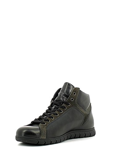 Sneakers alta allacciata in pelle nera Cafè Noir art. PM112 Nero