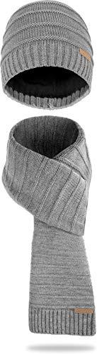 normani Winter Strick Mütze und Schal im Set für Damen und Herren - 2-teilig mit Fleecefutter Farbe Grau