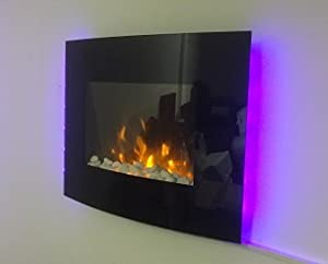 TruFlame 2018 7 COLOUR CHANGING LED WALL MOUNTED ELECTRIC FIRE WITH PEBBLE EFFECT!