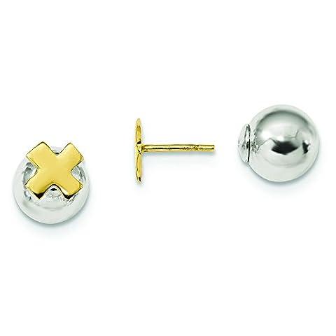 8,15mm Sterling Silber goldfarbene Kreuz vorne Rückseite Post Ohrringe