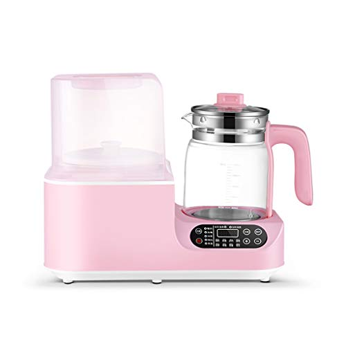 Scaldabiberon portatile rosa e sterilizzatore, Sterilizzatore a vapore 3 in 1 Funzione Scaldabagno caldo in vetro a temperatura costante, multifunzionale combinatore di latte