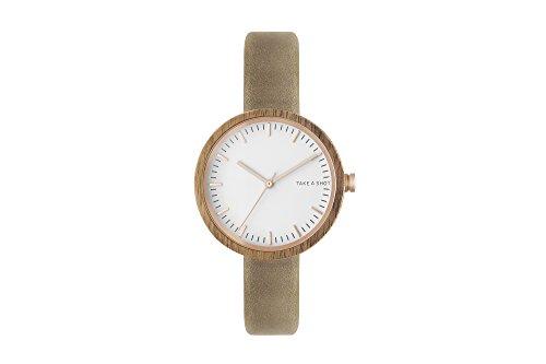 TAKE A SHOT Armbanduhr Frauenuhr Holzuhr Damen Frauen Lederarmband 36mm (Walnuss/Grau/Weiß)