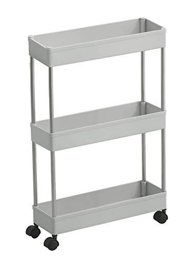 Küche Slim Slide Out Storage Tower Rack-Weiß 3 Tier Mobile Regaleinheit Organizer mit Universal-Rädern, abnehmbare Slim Slide Out Pantry Lagerregal for Enge Räume Wäscherei Badezimmer (Color : Gray) -