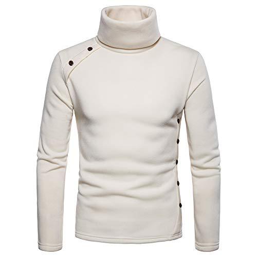 MIRRAY Herren Solide Herbst Winter Rollkragen Knopf Choker Outwear Tops Pullover Bluse