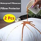 New Pack of 2 Pillow Protectors (50X90 Cm) with Zip - 100% Cotton - Machine Washable - Anti-Allergy, Anti-Bacterial 100% Waterproof