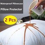 Nuova confezione da 2federe per cuscino (50x 90cm) con zip–100% cotone–lavabile in lavatrice–antiallergico, antibatterico, 100% impermeabile