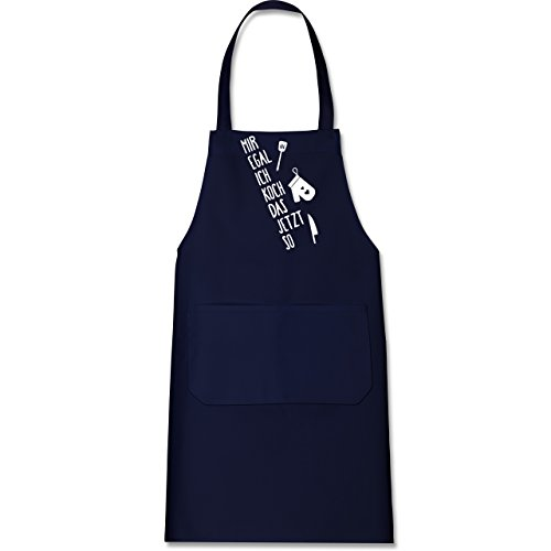 Shirtracer Küche - Mir egal ich koch das jetzt so - 80 cm x 73 cm (H x B) - Navy Blau - X967 - Kochschürze mit Tasche