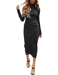 Auxo Vestido Negro a Punto Cuello Alto Suéter Larga Elegante Clásico para Mujer Jerséy para Otoño Invierno Fiesta Cóctel Noche
