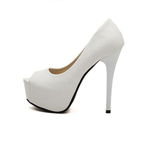 Damen Pumps Peep-Toe Plateau Slip on High-Heels mit Kroko Prägung Rutschhemmend Schick Party Abend Modisch Stiletto Weiß
