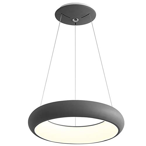 Fernbedienung Restaurant Kronleuchter Nordic Kreative LED Wohnzimmer Lampe Runde Licht Einfache Moderne Schlafzimmer Restaurant Bar Kronleuchter (Farbe : Grau)