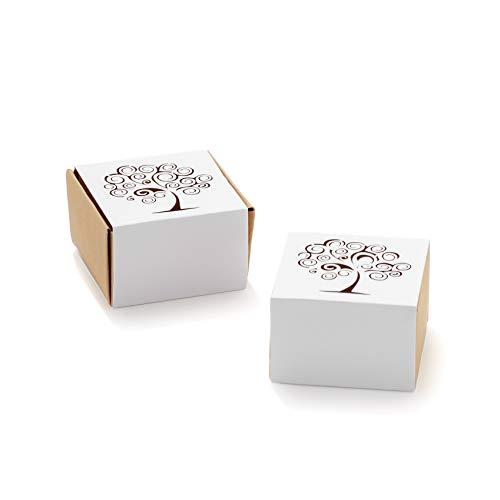 50pz Scatola Cubo Portaconfetti cartoncino traforato GABBIETTA, ALBERO DELLA VITA (ALBERO DELLA VITA)