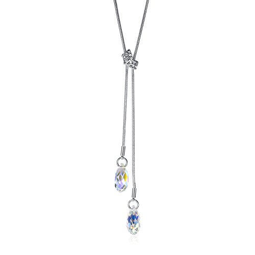 GoSparking Aurora Borealis lacrima di cristallo dell'oro bianco 18K della lega pendente della collana di cristallo austriaca per le donne