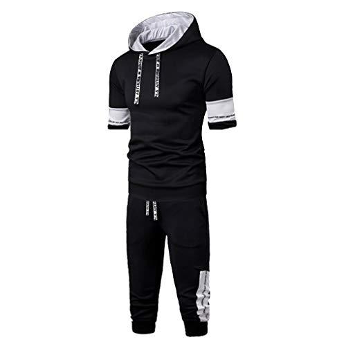 MakefortuneHerren Outfit Kurzarm Hoodie und Short Pants Sets Sportanzug Trainingsanzug Plus Size M-XXXXL