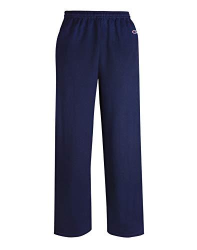 Champion Men's Double Dry Eco Fleece Open Bottom Pant, L-Navy - Fleece Open Bottom Pant