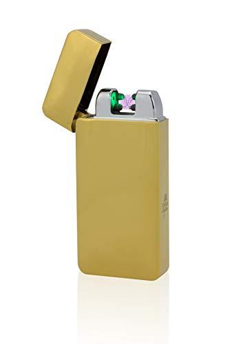 TESLA Lighter T10 | Lichtbogen-Feuerzeug mit Photosensor, elektronisches USB Feuerzeug, Double-Arc Lighter, wiederaufladbar, Gold