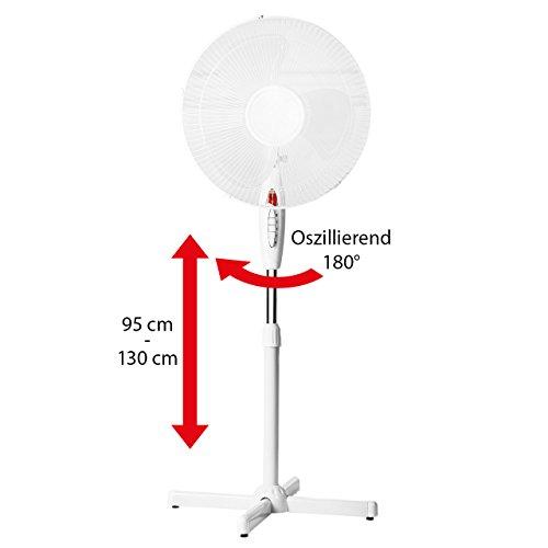 Lex Standventilator Ø 40cm - weiß Höhenverstellbar bis 130cm Oszillierend Nachtlicht Großer Standlüfter, Stehventilator Leiser Schwenk-Ventilator 40 Watt | Stand-Gebläse für Büro & Schlafzimmer - Kraft 3 Gebläse