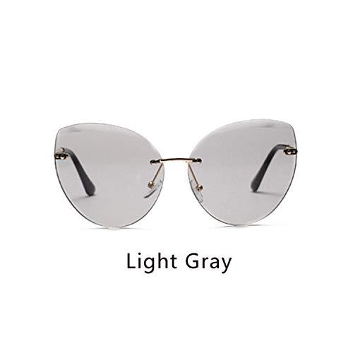 FGRYGF-eyewear2 Sport-Sonnenbrillen, Vintage Sonnenbrillen, NEW Sunglasses Women Cat Eye Rimless Sun Glasses UV400 Gray Gradient Shades Eyewear Accessories Female Oculo W2299 Light Gray