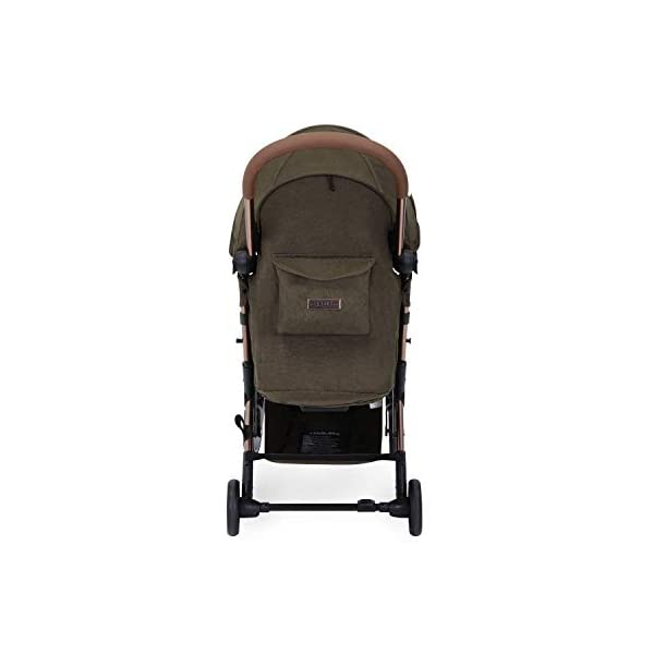 Ickle Bubba Globe Prime Baby Stroller | Lightweight and Portable Stroller Pushchair | Folds Slim for Ultra Compact Storage | UPF 50+ Extendable Hood and Baby Carriage Accessories | Khaki/Rose Gold Ickle Bubba ONE-HANDED 3 POSITION SEAT RECLINE: Luxury baby stroller suitable from birth to 15kg-approx. 3 years old; features luxury soft quilted seat liner, footmuff, cupholder, buggy organiser, storage bag and rain cover UPF 50+ RATED ADJUSTABLE HOOD: Includes a peekaboo window to keep an eye on the little one; extendable hood-UPF rated-to protect against the sun's harmful rays and inclement weather ULTRA COMPACT AND LIGHTWEIGHT: Easy to transport, aluminum frame is lightweight and portable-weighs only 6.4kg; folds compact for storage in small places-fits in aeroplane overhead; carry strap and leather shoulder pad included 4