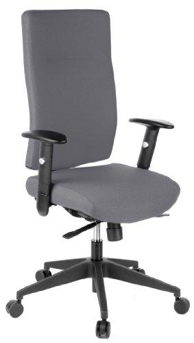 hjh OFFICE 608530 Bürostuhl Drehstuhl PRO-TEC 300 Stoff anthrazit, Bürodrehstuhl ergonomisch, extrem robuster Stoff, extra hohe Rückenlehne, verstellbare Armlehnen, Schreibtischstuhl, Chefsessel