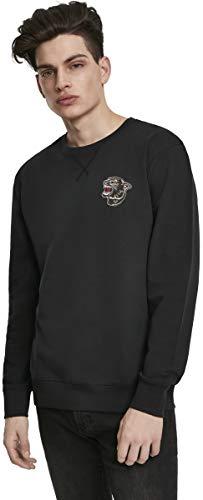 Mister Tee Herren Embroidered Panther Crewneck Sweatshirt, Black, L -