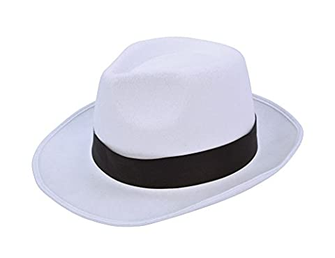 Costumes Hommes Blanc Gangster - Gangster Hat White with Black