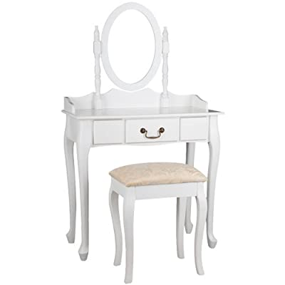 Miadomodo Dressing Table with Stool (1 Drawer) Adjustable Mirror Antique-Modern Design Cosmetics Make Up Bedroom Commode (White) - low-cost UK dressing table store.