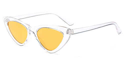 Damen Sonnenbrille Katzenauge Retro Weiß Gelb - 7,59 €
