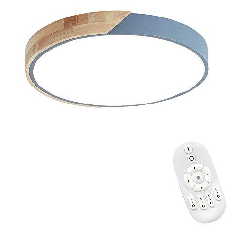 MCTECH 48W LED Deckenleuchte Holz Bunte mit Fernbedienung - Runde Deckenlampe Ultra-dünne 5cm für Schlafzimmer Wohnzimmer Kinderzimmer, Dimmbar - Holz Dünnes