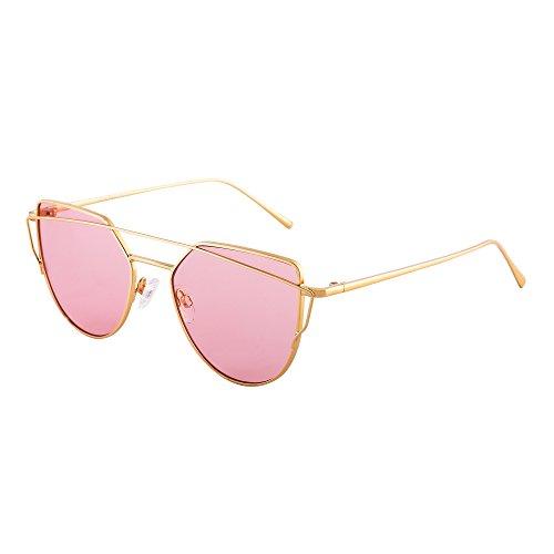Retro Katzenaugen Sonnenbrille Oversized Flach Spiegel Linsen Twin Beam Rahmen Dame Herre(Gold / Transparent Rosa)