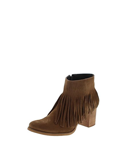 Fashion Boots Stiefel / Fashion Boots BORLAS / Fashion Boots FW1013 Vison / Braune Damen Stiefelette / Damen Stiefelette mit Fransen (Fransen-stiefel Braune)