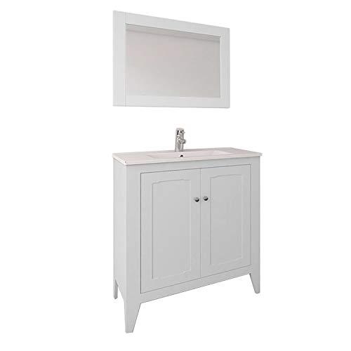 Randalsa Mueble de baño Ancho 80 cm de Estilo clásico Vintage a Suelo Boho | Blanco Roto | 81 x 90 x 46 cm Mueble + Lavabo cerámica + Espejo