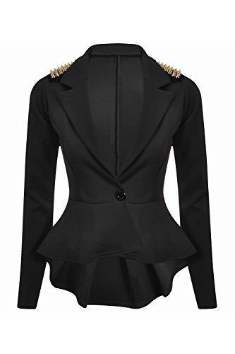 Neu Damen Langärmlig Spikes Schößchen Ein Knopf Jacke Mantel Blazer Oberteil - Schwarz, 44 (Jacket Spike Schwarz)